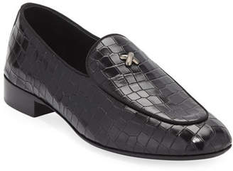Giuseppe Zanotti Men's Stamped Crocodile Leather Formal Loafer