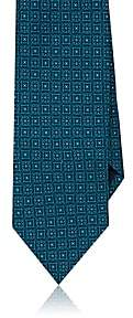 Piattelli MEN'S MEDALLION SILK FAILLE NECKTIE - GREEN