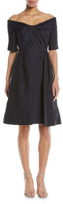 Rickie Freeman For Teri Jon Off-the-Shoulder Cloque Cocktail Dress w/ Full Skirt
