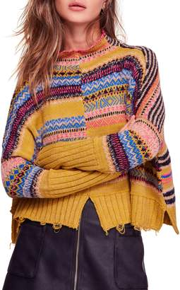 Free People All the Pattern Mock Neck Pullover