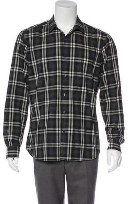 Theory Plaid Button-Up Shirt