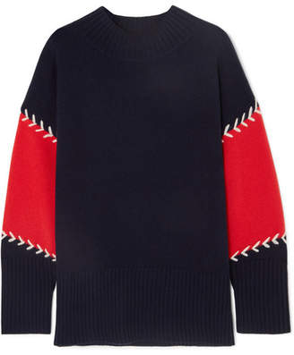 Chinti and Parker Color-block Wool And Cashmere-blend Sweater - Navy