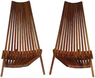 One Kings Lane Vintage 1970s Folding Hickory Chairs - Set of 2 - Jeter's Antiques