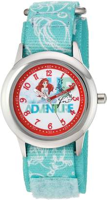 Disney Girl's 'Ariel' Quartz Stainless Steel and Nylon Casual Watch, Color: (Model: WDS000045)