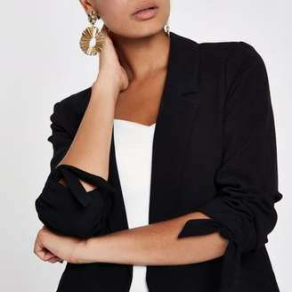River Island Black ruched sleeve blazer