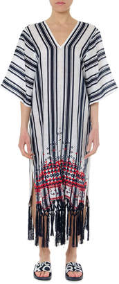 Tory Burch Awning Linen White & Blue Striped Caftan