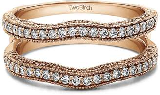 TwoBirch 1/4 ct. Diamonds (,VS2-SI1) Man Made Diamonds ,VS2-SI1 Contour Ring Guard with Millgrained Edges and Filigree Cut Out Design set in 10k Rose Gold (0.26 Cts TWT) in 10k Rose Gold (0.26 ct. twt.)