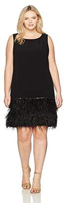 Tahari by Arthur S. Levine Women's Plus Size Slvless Dress with Feather Trim