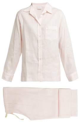 Pour Les Femmes - Piped Linen Pyjama Set - Womens - Light Pink