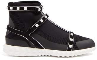 Valentino Free Rockstud Bodytech High Top Trainers - Womens - Black White