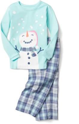 Gap Snowman plaid flannel PJ set