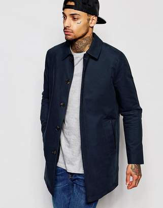 Asos Design Single Breasted Trench Coat With Shower Resistance In Navy