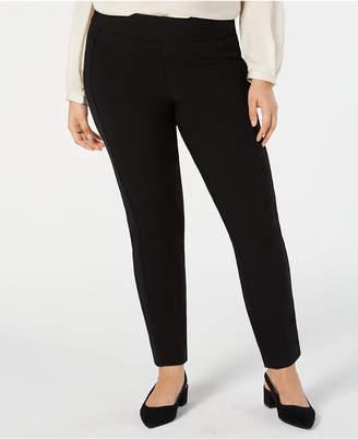 Alfani Plus Size Velvet-Stripe Pull-On Pants