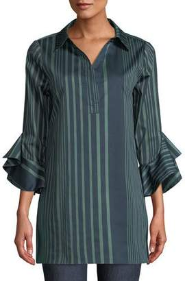 Badgley Mischka Floral-Placement Ruffled-Cuffs Striped Tunic Blouse