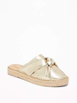 Old Navy Knotted Metallic Faux-Leather Espadrille Slide Sandals for Women