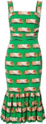 Dolce & Gabbana Cannoli Print Midi Dress