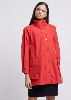 Emporio Armani Polyester Raincoat With Hood And Drawstring On The Back