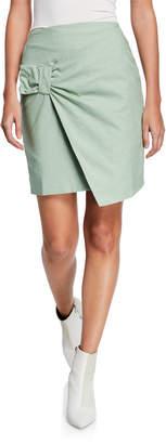 EVIDNT Shirring Surplice Faux-Wrap Skirt