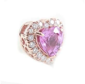 14K Rose Gold Pink Sapphire and Diamond Pendant
