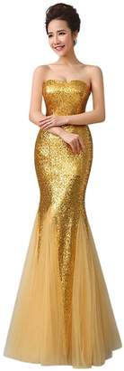 Drasawee Women's Strapless Sequins Mermaid Wedding Party Formal Evening Dresses