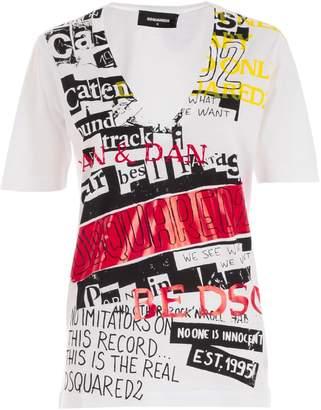 DSQUARED2 V-neck Printed T-shirt