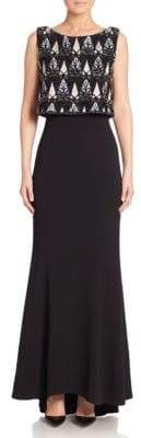 Laundry by Shelli Segal PLATINUM Beaded Sleeveless Gown
