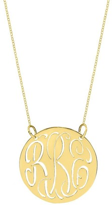 """Sterling & Gold Plated 7/8"""" Cutout Monogram Necklace"""
