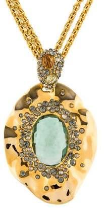 Alexis Bittar Green Quartz, Citrine & Crystal Pendant Necklace
