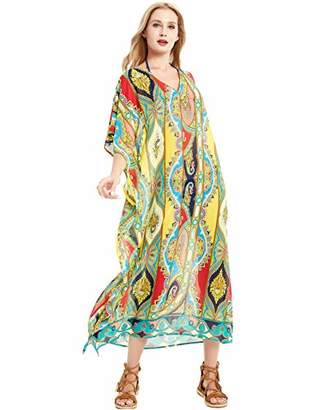 Basic Model Swimsuit Cover Ups for Women Summer Chiffon Floral Kimono Cardigans Beach Cover Up Gold