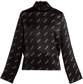 Aries Logo Print High Neck Silk Satin Top - Womens - Black