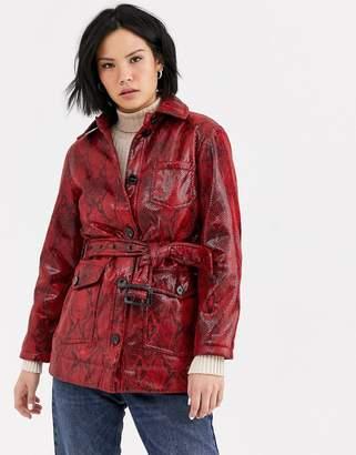 Topshop vinyl jacket with belt in snake print