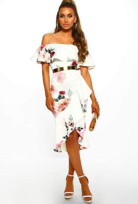 17b56937be6cf Pink Boutique So Senorita White Floral Bardot Frill Detail Midi Dress
