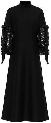 Valentino Lace-paneled crêpe dress
