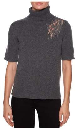 Magaschoni Short Sleeve Turtleneck W/Lace