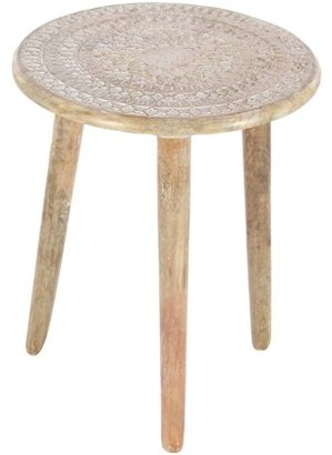 Decmode Contemporary 22 X 17 Inch Carved Mango Wood Round Accent Table, Brown