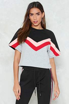Nasty Gal Race Ya Cropped Chevron Tee