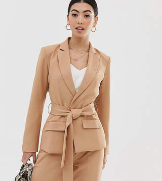 Fashion Union Petite blazer with tie waist co-ord