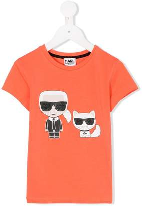 Karl Lagerfeld and Choupette print T-shirt