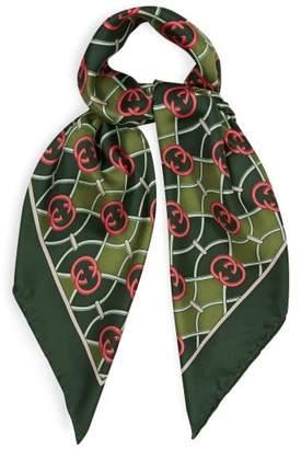 Gucci Gg Logo Print Silk Faille Scarf - Womens - Green