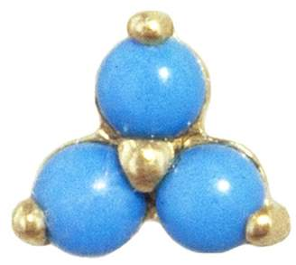 Maria Tash 6.5mm Large Turquoise Trinity Single Stud Earring - Yellow Gold