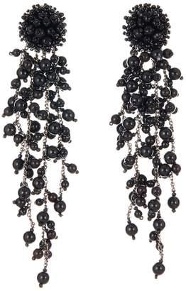 Oscar de la Renta Flower Chain Shoulder Duster Clip Earrings