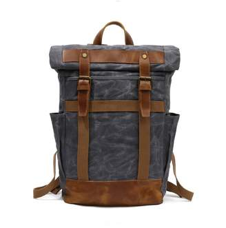 EAZO - Large Roll Top Waxed Canvas Backpack In Grey
