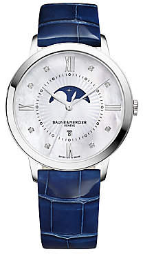 Baume & Mercier Women's Classima Moonphase Diamond, Mother-Of-Pearl, Stainless Steel & Patent Alligator Strap Watch