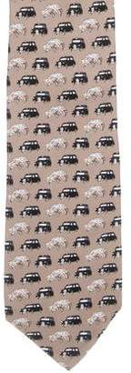 Burberry Automobile Print Silk Tie