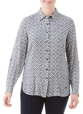 Olsen Nordic Mood Printed Button Front Blouse