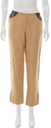 Fendi Leather-Accented Linen Pants