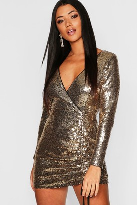 boohoo Sequin Long Sleeve Ruched Bodycon Dress