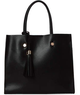 Imoshion Black Tassel Faux Leather Satchel