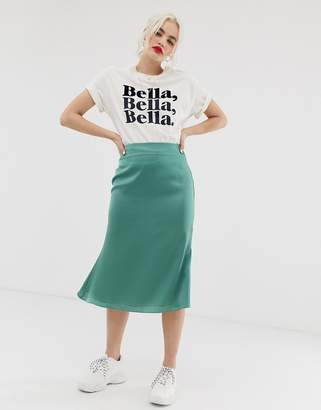 Glamorous bias cut midi skirt in satin