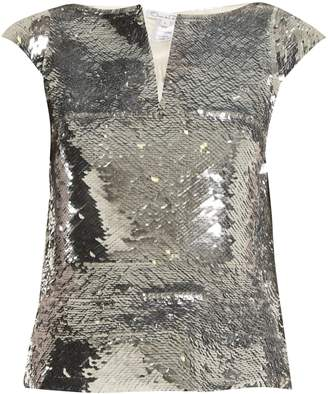 Oscar de la Renta V-neck sequin-embellished top